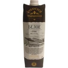 Вино Кубанское Традиционное  белое  сухое  1л.