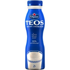 Йогурт Греческий натуральный TEOS 2% питьевой 300г.