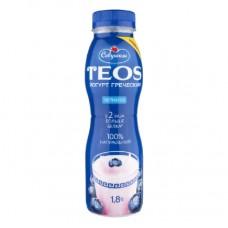 Йогурт Греческий ЧЕРНИКА 1.8% TEOS питьевой 300г.